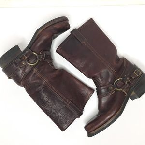 FRYE Leather Harness Boots - vintage look 8m